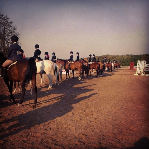Beginner juniors waiting to be split up #mhja #horseshow #hunter