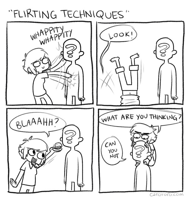 thefrogman:  Flirting Techniques by Caro Ramsey [website | twitter]  This isn't how it's done?