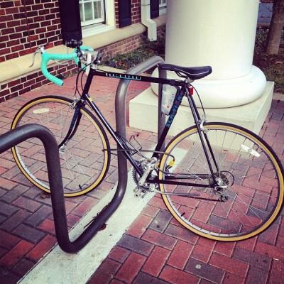 The Whip [1988 Schwinn World Sport, rebuilt last summer with @flavoroftheweek] #cycling #bicycling #schwinn #worldsport #1988 #teal #roadbike #love #iphoneonly #4s #TCNJ #conj #thecollegeofnewjersey #vintage #vintagebike #spring (at TCNJ)