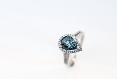 J ALBRECHT DESIGNS…  2.85 carat Montana sapphire in 18k white gold and diamond setting.