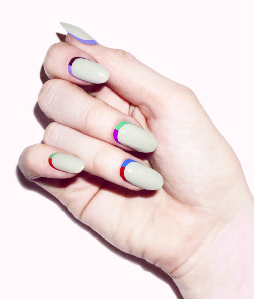 Striped ruffian manicure by Madeline Poole