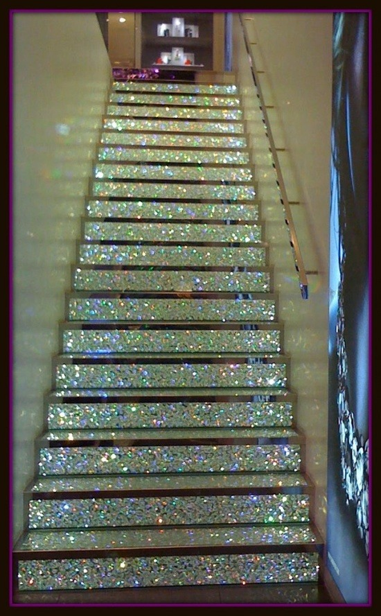 I want this staircase! Doesn't even have to be real crystals, the sparkle shall do.