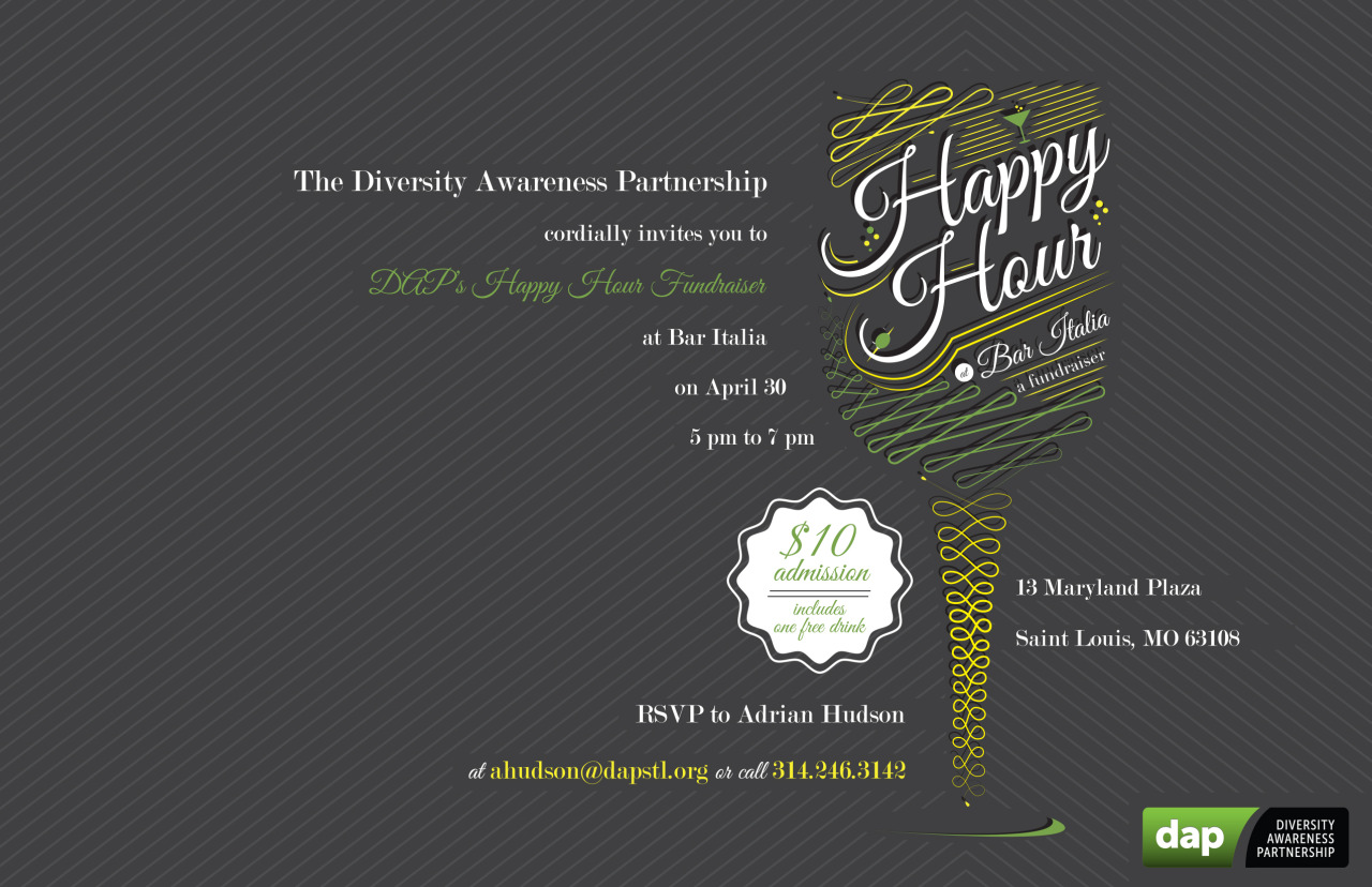 We just finished a simple e-card/e-invitation design for area non-profit, Diversity Awareness Partnership. Looking forward to the event in April. DAP has some of the greatest staff members you could ever meet and their cause crosses over so many issues of the day. Find out more about the Diversity Awareness Partnership and their efforts here: www.dapstl.org.