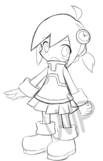 Done sketching for my puyo oc's chibi's design. what is creativity