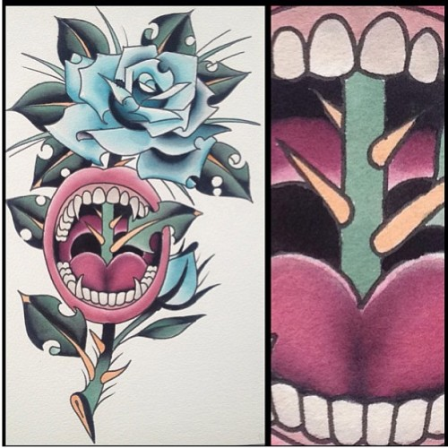 With colour now, by @alejotattooist he has had a cancellation this week, call the shop or email us for appointment 02074300144 blackgardentattoo@hotmail.com #tattoo #tattoos #london #blackgarden #blackgardentattoo #coventgarden #roses #alejotattooist #vampire #foreverink