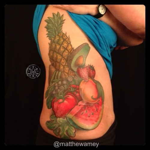 Finished this fruit on Joyce today! #matthewamey #handmade #dailygrind  (at Independent Tattoo)