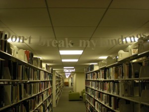 Mysterious messages left in the stacks of the Duke University Libraries. We may steal this idea!