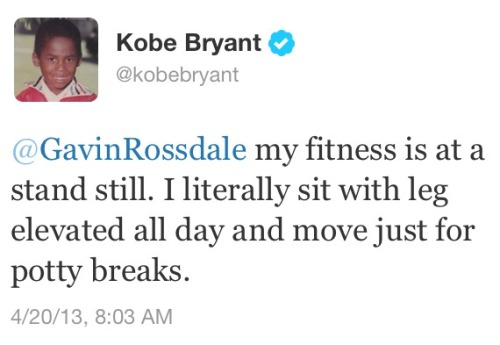 This is where our culture is right now: Kobe Bryant is tweeting at the lead singer of Bush about his Achilles' tendon injury.