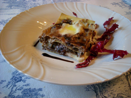 photo edited by me, dish edited by mum  Lasagna with red radicchio, bacon and stracchino fresh cheese Lasagna con radicchio, pancetta e stracchino