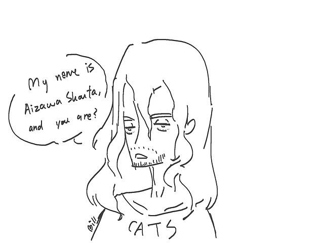 Credit to @incorrect-bnhaMic to cats - Anddddd thats how I met your mom kidsAizawa - *death glares* #myart#d4doodles#erasermic#eraser head#present mic#hizashi yamada#aizawa shouto#mha#bnha