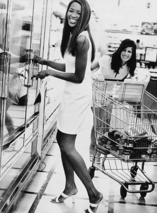 """Working in the day shift"" Naomi Campbell and Stephanie Seymour by Pamela Hanson for Vogue US March 1996"