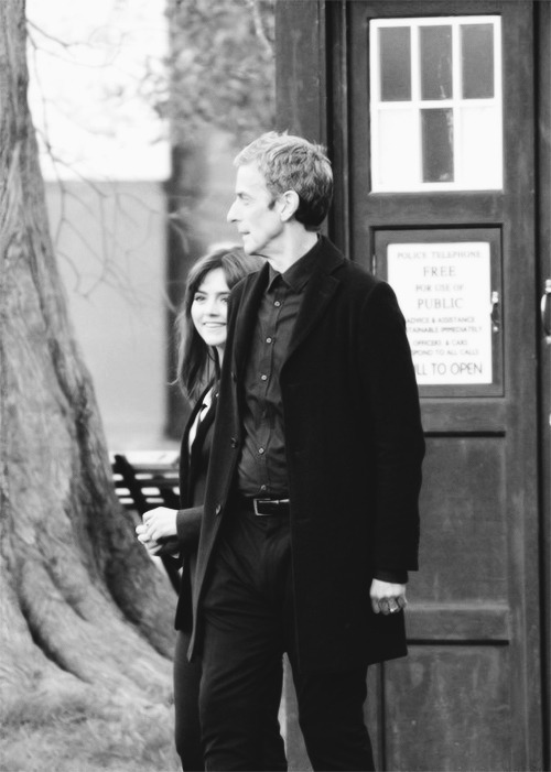 the-suit-man:  Jenna Coleman and Peter Capaldi on set March 18th. …More menswear right here  I might be mildly excited about this…