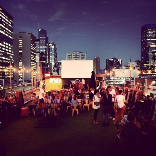 Melbournes rooftop cinema.