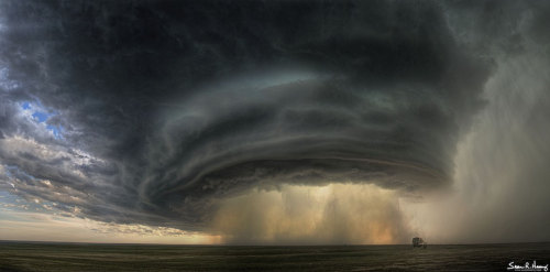 Craziest supercell photograph I've ever seen.  Source: http://apod.nasa.gov/apod/image/1305/thundercell_heavey_864.jpg