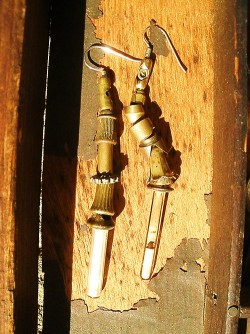 These are made from vintage lamp pullchains… New earrings…Wearables Collection 2012…by Rick Frausto