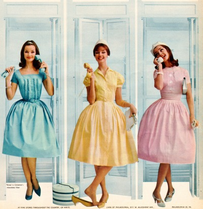 60sfashionandbeauty:  Summer dresses by Betty Barclay, featured in Seventeen, May 1960. (♥)