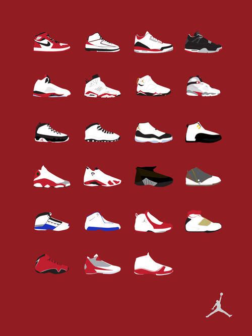 culturejunkie:  Air Jordan Timeline. Diggin' this minimilist Air Jordan chart depicting the evolution of the sweetest basketball sneakers in history.  *LIKE*