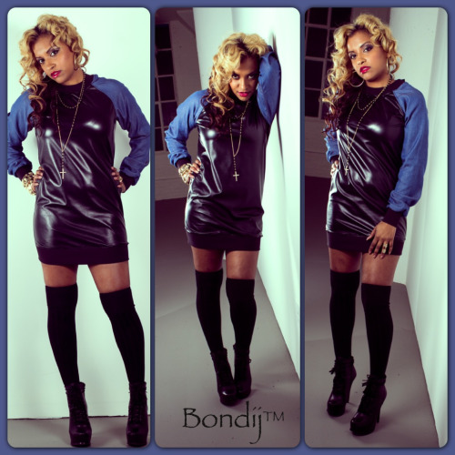 New Bondij Faux leather and denim dress