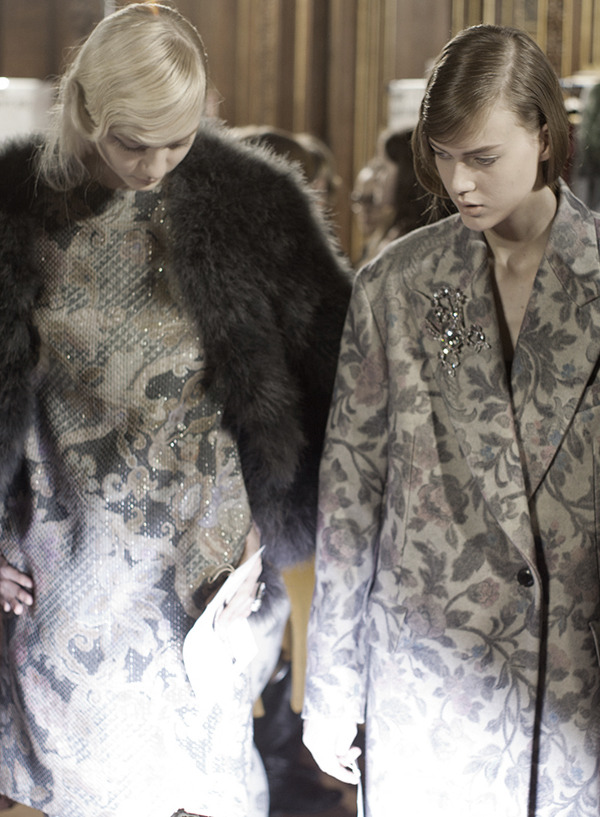 candentia:  Nastya and Tess at Dries Van Noten F/W 2013/14 Backstage