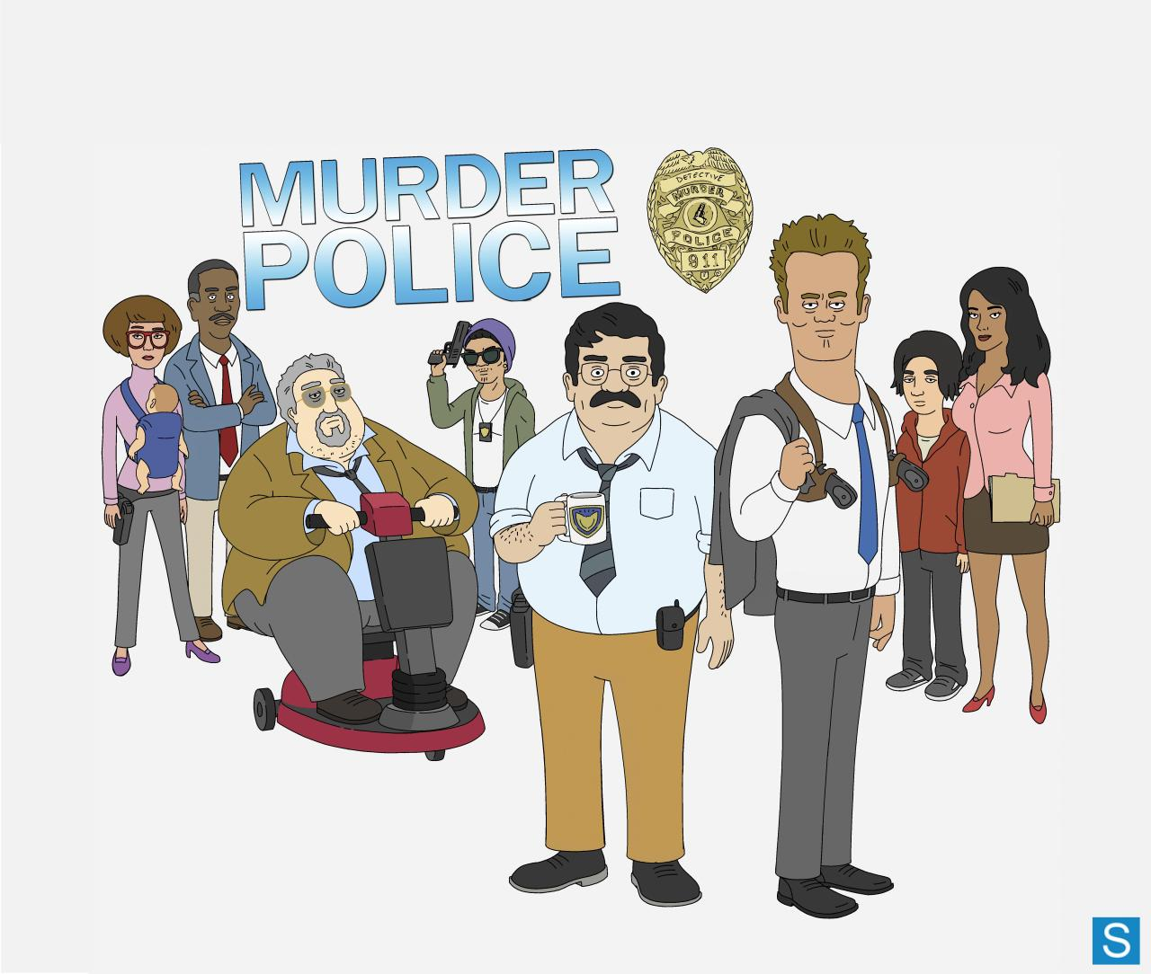 "MURDER POLICEMURDER POLICE is a new animated comedy series that expands the boundaries of the cop show genre as only animation can. From David A. Goodman (FAMILY GUY) and rising writer/animator/performer Jason Ruiz, the series follows a dedicated, but inept detective and his colleagues – some perverted, some corrupt, some just plain lazy – in a twisted city precinct. At the center of this maelstrom is MANUEL SANCHEZ (Ruiz), a neurotic and nerdy cop who aspires to be a good policeman, but his efforts to solve crimes are constantly put in jeopardy by his own clumsiness and the incompetence of his fellow detectives. Making matters worse, his egotistical, bribe-accepting partner, TOMMY MARGARETTI (Will Sasso, ""The Three Stooges,"" ""MADtv""), a tough, rule-breaking ""bad cop,"" can't interrogate a suspect without beating him up. The other detectives in the precinct include RANDALL HICKOX (Chi McBride, ""Golden Boy""), a cop with little interest in police work. He's lost a lot of partners, hates his job and often hands off his resume to crime scene witnesses. Randall's newest partner, JUSTICE (Jane Lynch, GLEE), is a self-righteous working mother whose child is lodged in a baby bjorn that is permanently secured around her chest. Undercover cop DONEL (Phil LaMarr, FAMILY GUY, ""Futurama"") is in so deep that he often does things of questionable legality. They all are supervised by the perpetually annoyed Captain JOHN RUSHOUR (Peter Atencio, ""Key and Peele""), a brusque, overweight old-school cop who expects failure and can't be bothered to even get out of his Rascal scooter. Manuel's ex-wife, ROSA (Justina Machado, ""Private Practice,"" ""Six Feet Under""), is a defense lawyer who remains irritated that Manuel always put his job first. But they remain bonded in the upbringing of their son, MARIO (Ruiz), a troubled teen who is less impressed with his father than he is by the criminals he catches. These cops often find themselves mildly interested in the most recent crime victim, but completely obsessed with who ""destroyed"" the bathroom. Nevertheless, where there's a mystery, Manuel somehow finds a way to solve it. MURDER POLICE is produced by Bento Box Animation (BOB'S BURGERS) and 20th Century Fox Television. The series is co-created by David A. Goodman (FAMILY GUY) and Jason Ruiz – one of the writers/animators discovered through the Fox Inkubation program. Goodman serves as executive producer and showrunner, and Ruiz is co-executive producer. PRODUCTION COMPANIES: 20th Century Fox Television, Bento Box AnimationCO-CREATORS: David A. Goodman, Jason RuizEXECUTIVE PRODUCER/SHOWRUNNER: David A. GoodmanCO-EXECUTIVE PRODUCER: Jason RuizVOICE CAST: Jason Ruiz as Manuel and Mario Sanchez, Will Sasso as Tommy Margaretti, Chi McBride as Randall Hickox, Jane Lynch as Justice, Phil LaMarr as Donel, Peter Atencio as John Rushour, Justina Machado as Rosa Sanchez  MURDER POLICE Facebook.com/MurderPolice @MurderPoliceFOX #murderpolice"