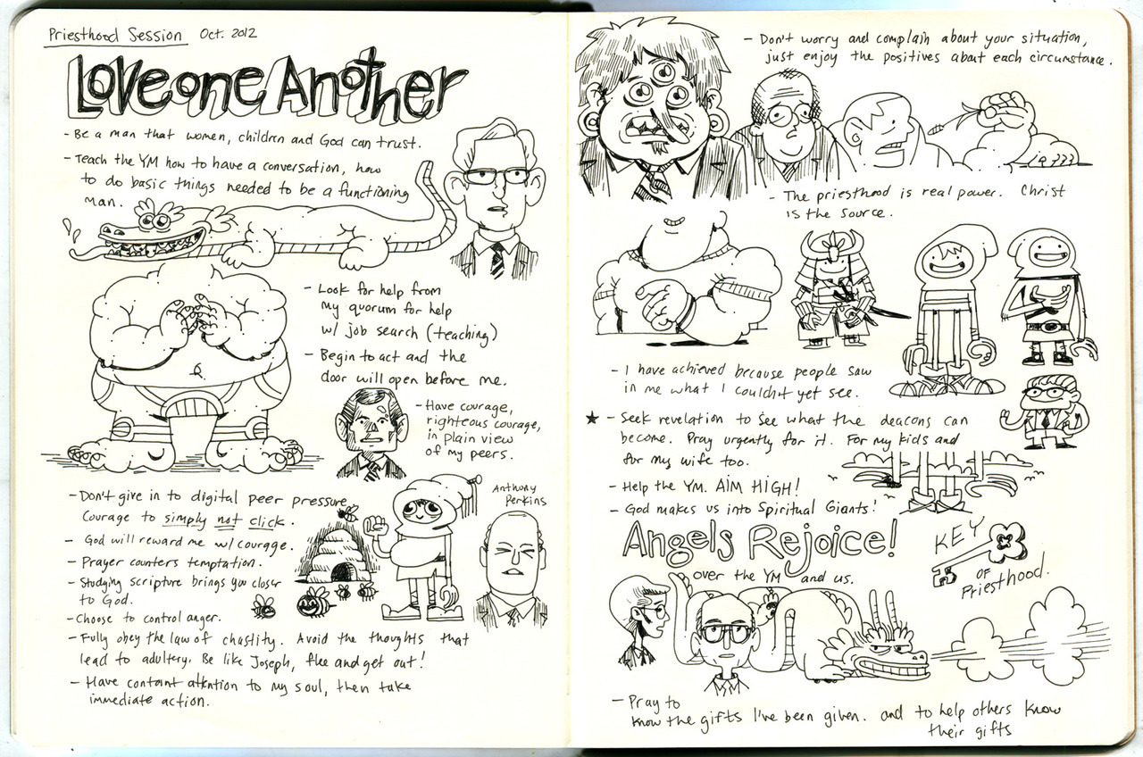Wow a sketchbook spread! These were my notes from the Priesthood session of the Church of Jesus Christ of Latter-Day Saints' October General Conference. I really liked how these turned out. Also, I got to sit by my dad because he was visiting, which was awesome.