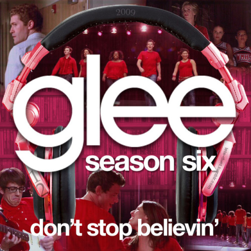 "A Glee album cover (with Season 6 headphones) for ""Don't Stop Believin'"" by Journey, as sung by the cast of Glee featuring Cory Monteith and Lea Michele, from Episode 1x01 ""Pilot"" and Episode 6x12 ""2009"" in my Bookshelf Backdrop Style."