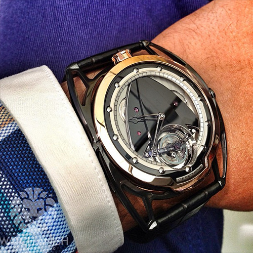 watchanish:  De Bethune DB28 black and rose gold. Should just rename this the 'Oufff'.Live from Basel