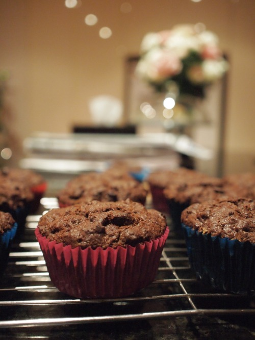 Choc Rough Muffins I realised very belatedly that the last time I made these and posted a picture up, I didn't post the recipe up. My apologies! —recipe after the jump— [[MORE]] Choc Rough Muffins Makes 12 (perhaps more if you use muffin liners) Ingredients -125g sugar -1/2 cup butter (125g) -2 eggs, lightly beaten -250g self-raising flour, sifted -4 tablespoons cocoa powder, sifted -175g chocolate chips -45g desiccated coconut -3/4 buttermilk/milk Method: 1. Preheat oven to 170C/338F. In a large bowl, place butter and sugar and beat until light and fluffy. Gradually beat in the eggs. 2. In a separate bowl, combine flour and cocoa powder. Add flour mixture, chocolate chips, coconut and milk to butter mixture and mix until just combined. 3. Spoon mixture into a 12 hole muffin pan. Bake for 30 minutes or until skewer poked into the center of the muffin comes out clean. Turn onto wire wrack to cool. Enjoy! :) J