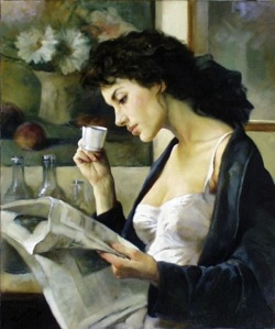books0977:  Café del Matino. Gianni Strino (Italian, 1953-). Oil on canvas. Strino is considered to be a major representative of the modern Neapolitan aesthetic movement. His most notable qualities as a figure painter lie in his ability to penetrate beyond surfaces, and paint in depths.