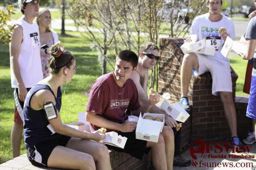 Participants compete in United Way's Annual Krispy Kreme Challenge. The event took place on Sunday, April 7th, 2013 on Florida State's campus.