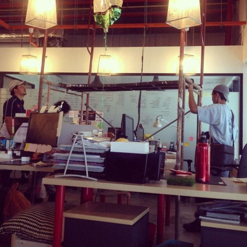 Scaffolding antics on a Saturday morning in the office.  (at VLT)