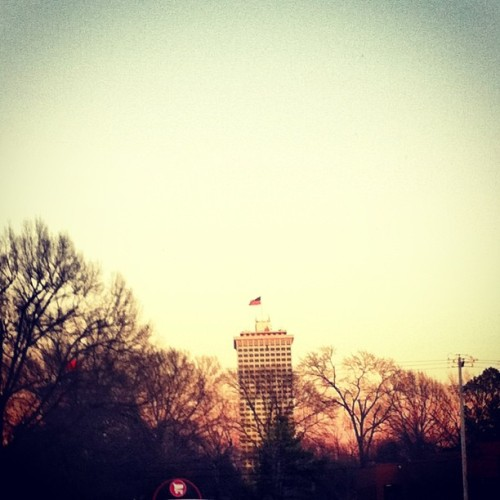 Clark Tower #memphis #sunset #sky #building #trees
