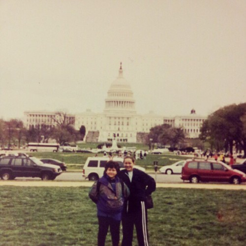 Me and @lorenaoutloud at the National Mall circa '99. There's something about bunny ears that were funny at 10. #DC #Capitol