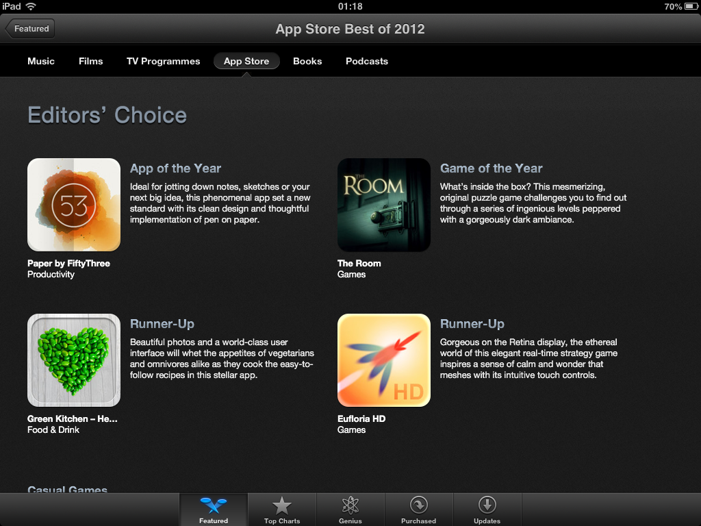 Eufloria HD is Apple's iPad Game of 2012 Runner up in their Best of 2012 promotion!