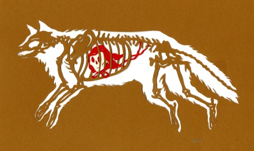 inkhead:  what the other big, bad wolf ate, paper cut, 2013 bone a day   inkhead