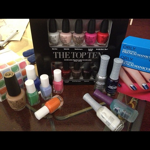 Stocked up for my trip to AZ. Already getting text about doing nails. Planned to get all minis, but OPI San Tan-tonio and Essie Butler Please are must haves! #opi #essie #orly