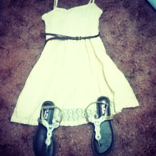 New Dress and Sandals.!  #cute#wetseal#lace#brown#belt#itsonanotherlevel