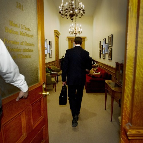 Premier Dalton McGuinty walks into his office after arriving for a Liberal Cabinet meeting in Toronto on Jan. 23, 2013. (Peter Power/ The Globe and Mail) #ontario #liberal #photojournalism