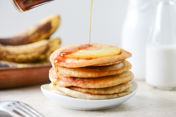 Vegan Pineapple Upside Down Banana Pancakes.