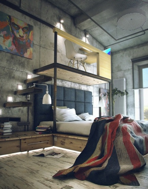decoholic:  (via 21 Industrial Bedroom Designs)   Places like this just blow my mind