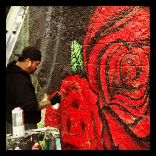 Everything's coming up #RoSeS. A #Taste. More to come tomorrow. #art #painting #mural #aerosolart #rosey #flowers #serv1 #dezinead9 #communityproject #pacoima #818