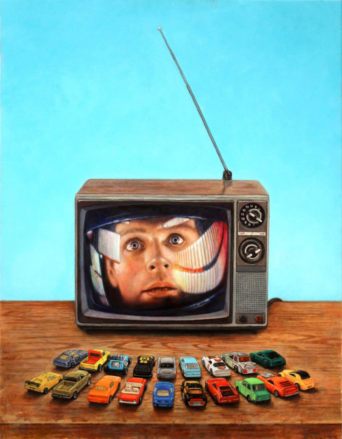 "supersonicelectronic:  Allan Innman. Allan Innman's phenomenal painting, ""At the Drive In,"" from the 2nd Annual Supersonic Electronic Invitational available at Spoke Art for purchase.  SEI2 is on display at Spoke Art in San Francisco, California until January 26th, 2013."