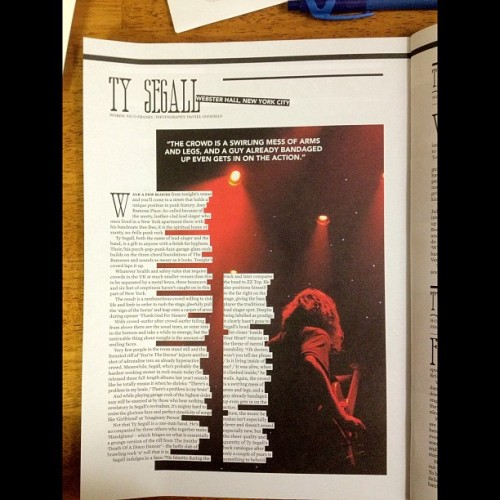 In print from Ty segall at Webster hall @clash_music