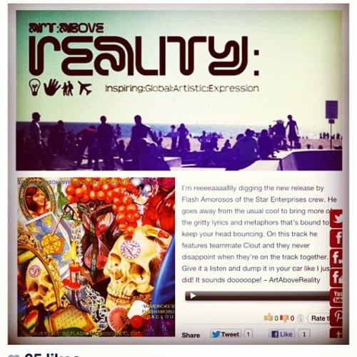 "Hey #music fans, be sure to stop thru #ArtAboveReality.com and check out that #NEW! @flashamorosos x @clout_se track called ""Mavericks"". A suuuper #dope release! Also keep an eye out for #BillionDollarFeelings by Flash coming soon along with talented #artists and #entrepreneurs! #inspiring #global #artistic #expression #art #rap #hiphop #London #UK #NYC #LA #Japan #China"
