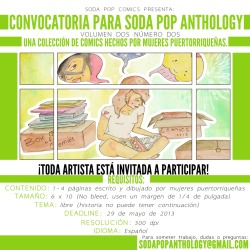 ¡Convocatoria Soda Pop Anthology Volumen Dos Número Dos!