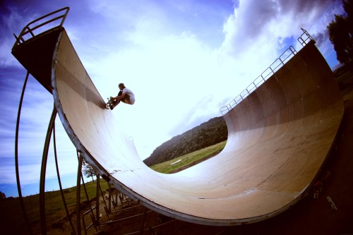 Colour version of Sam Havens Fs 5-0 in the backyard ramp - 2013