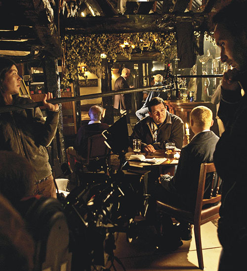 bigmeowski:  Filming on the set of Hot Fuzz (2007)
