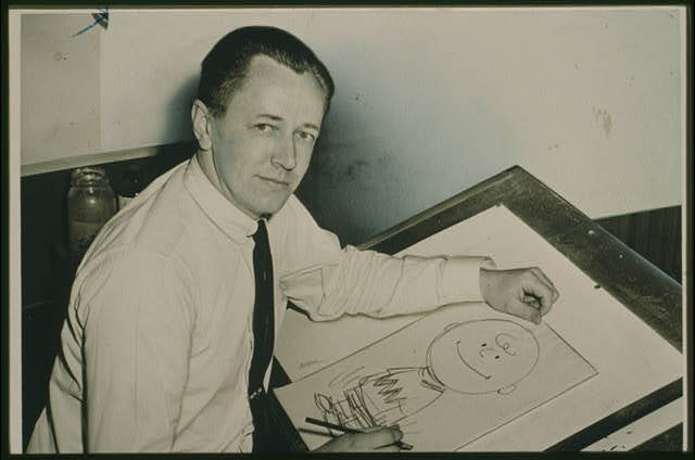 pbsthisdayinhistory:  Feb. 12, 2000: Cartoonist Charles M. Schulz Passes Away On this day in 2000, Charles Schulz, creator of comic strip Peanuts, passed away. The following day, the last original Peanuts comic was published. As a sign of respect to Schulz, no new Peanuts comic strips have since been created. Newspapers around the world reprint classic comic strips. Learn more about the iconic American cartoonist with American Masters' Charles Schulz timeline. Image: 1956 photo of Charles Schulz with Charlie Brown drawing (Library of Congress).