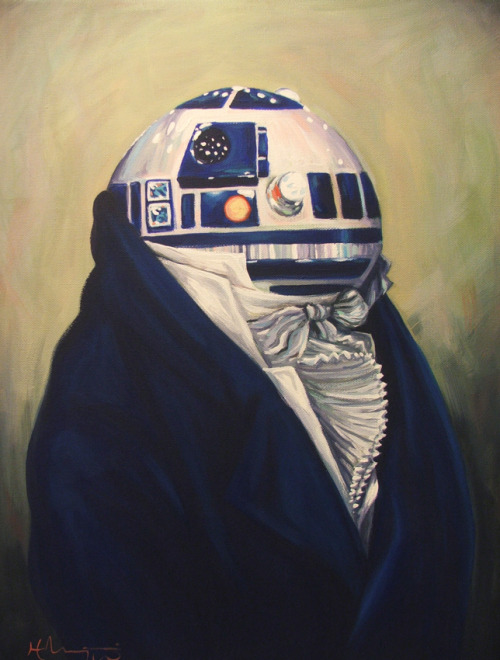 Duke R2-D2 Created by Hillary White Based on Francois-Xavier Fabre's Portrait Of A Man. Another fantastix geek portrait for Hillary's exhibit at Nosh Kitchen Bar in Portland, Maine, showing through the month of February. DeviantArt || Tumblr || Shop (via: tiefighters)