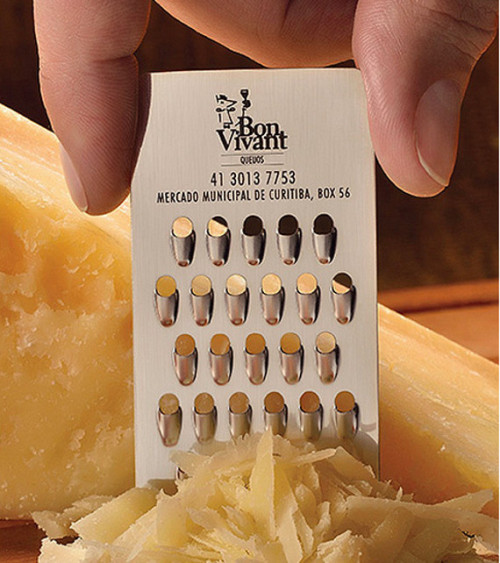 "Cheese store Bon Vivant engaged Brazilian ad agency JWT to come up with this ""Grater Card"", a cheese grating business card. #cheese"